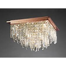 maddison square 6 light rose gold ceiling fixture with crystal pendants