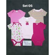 Set 5 body chip, bodysuit cho bé trai và bé gái sơ sinh từ 0-8kg giảm chỉ  còn 125,000 đ