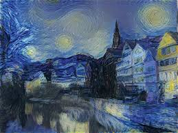 the ai could take the style of one image like the swirls and dots of vincent van gogh s most famous painting starry night and make another image adopt