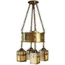 arts and crafts slag glass chandelier circa 1920 for