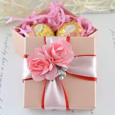 Decorated Boxes For Gifts Pink Square Box With Ribbon Flower Decoration Wedding Favor Gift 2