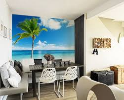 modern tropical furniture. Beach Mural Wall For Modern Tropical Themed Living Room Decoration With Grey Furniture Ideas