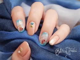 春色ターコイズネイル と フット刺繍ネイル 主にポリッシュセルフ
