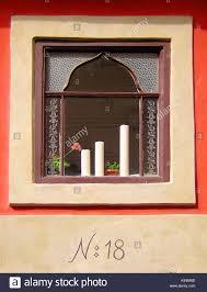 Ein Fenster In Zlatá Ulička Oder Golden Lane Eine Reihe Von