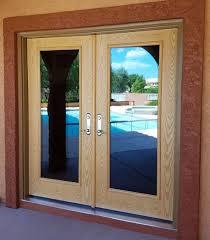 patio doors two door with wood border and