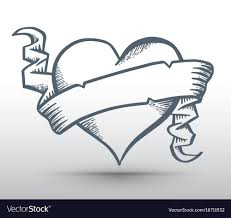 Heart And Ribbon Designs Heart With Ribbon Drawing Banner