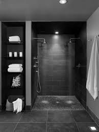contemporary shower heads. Bathroom Shower Design Ideas With Contemporary Double Heads Pebble Base And Storage Shelves B