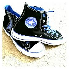 converse shoes blue and black. high top chuck taylor converse with side zipper shoes blue and black