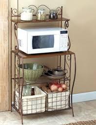 metal rack in microwave. Interesting Rack Bakers Rack 2 Baskets Kitchen Storage Metal Microwave Stand Rustic Wood  Shelf Intended In V