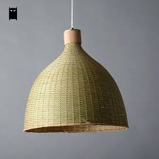 basket lamp shade hand woven bamboo rattan round basket lampshade pendant light fixture rustic country