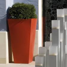 outdoor garden planters. Red Finish Outdoor Garden Planters T