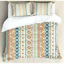 tribal style pattern retro hand drawn abstract duvet set mexican bedding decor