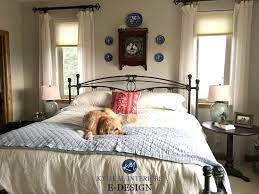 Sherwin Williams Accessible Beige In A Country Farmhouse Style Guest Bedroom  With Wood Trim And Neutral