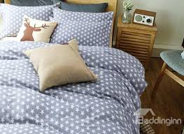 full image for surper soft white five pointed star with gray ground cotton 4 piece duvet