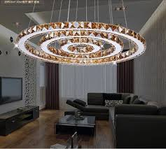 2 rings led pendant lights creative round restaurant modern crystal lamp living room dining room lighting