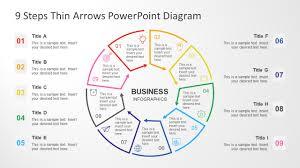 Arrow Ring Chart Powerpoint 9 Steps Circular Thin Arrows Powerpoint Diagram