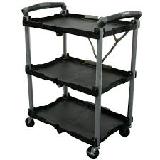 Fold Up Shelf Olympia 3 Shelf Collapsible 4 Wheeled Multi Purpose Utility Cart