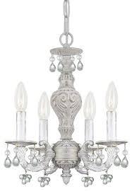 crystorama paris market 4 light clear murano crystal white mini chandelier
