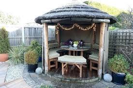 outdoor dining gazebo circular outdoor seating thatched garden hut gazebo dining shelter heater furniture