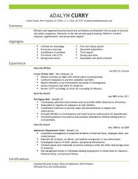 Example Resume Resumes Best Security Guard Livecareerr Ojt Business
