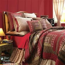 Country Bed Quilts – co-nnect.me & ... French Country Bed Comforter Red Brown Plaid Rustic Lodge Log Cabin  Country Home Cotton Quilt Bedding Adamdwight.com