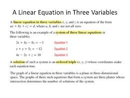 solving linear systems in three variables ppt