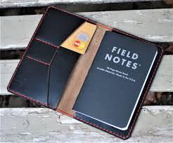 custom made handmade horween chromexcel black leather field notes moleskine cover wallet