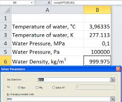 8 7 calculation of maximum density of water in ms excel environment