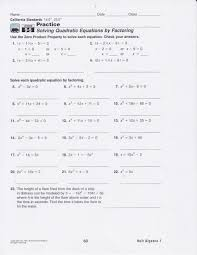 solving quadratic equations by factoring worksheet answers algebra 1 worksheets for all and share free on