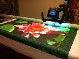 """A few photos of the quilting of the 'Water Lily' at Olde City ... & The 'Water Lily' mounted on the """"Miss Kitty"""" long arm machine at Olde City  Quilts in Burlington, NJ at the start of the quilting of the Textured Photo  Art. Adamdwight.com"""