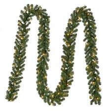 pre lit artificial kingston garland with 70 clear lights