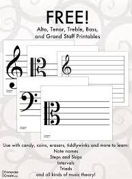 Treble Clef To Alto Clef Chart Printable Treble Bass Tenor And Alto Clef Staff For
