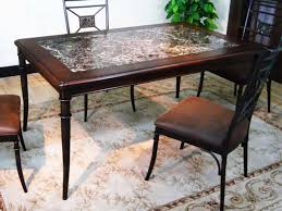 image of granite dining table and 8 chairs