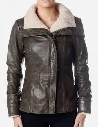 amilia women 039 s shearling leather jacket dark green