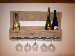 small reclaimed wood pallet wine rack with wine glass holder