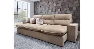 sofá 5 lugares retrátil reclinável marrom max