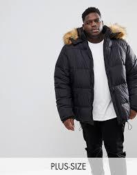 puffer coat with faux fur trim in black black men s jackets 5bq7xlof prevnext