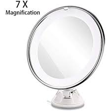 ruimio makeup mirror 7x magnifying lighted makeup mirror with suction base natural white led 360 degree swivel