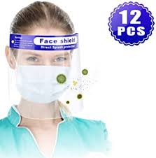 12PCS Reusable <b>Face Shield</b>, Plastic Safety <b>Face Shield Adjustable</b>