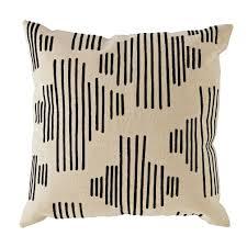 Mod Botanical Throw Pillow (Black Stripe)
