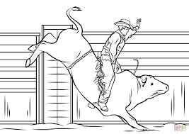 Small Picture Cowboy Riding A Bull Coloring Page In Coloring Pages Of Bulls