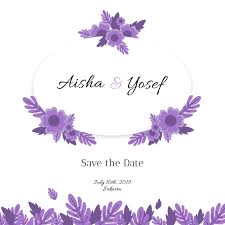 Wedding Invitation Template Design With Cute Purple Flowers