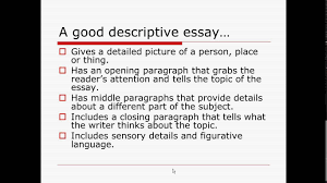 characteristics organization of a descriptive essay  characteristics organization of a descriptive essay