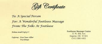 footloose for the body spirit sole massage gift certificate sample image
