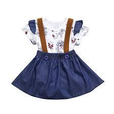 Imp Originals Size Chart Rucan Baby Girls Suspenders Skirt Set Floral Print Rompers Denim Skirt Overalls