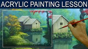 acrylic landscape painting tutorial the barn on the river by jm lisondra