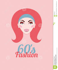 fashion of sixties head of with hair and makeup in style of 60s vector ilration