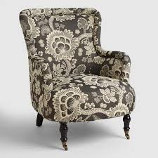 ... Black And White Floral Reading Chair Living Room Chair Slipcover Simple  Living Room ...
