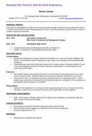 Free First Part Time Job Resume Sample Templates At Résumé Free