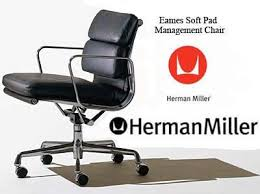 Herman Miller Soft Pad Eames Leather Aluminum Group Management Management Chair Herman Miller